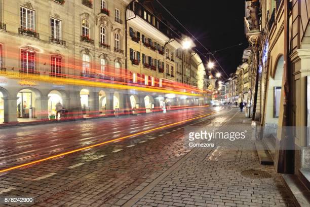 Cityscene and Traffic at Night, Bern, Switzerland