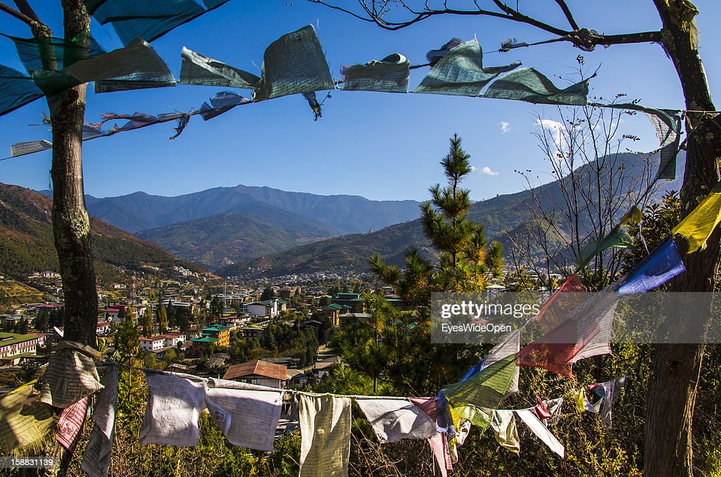 Cityview with Dzongs and houses on November 18, 2012 in Thimphu, Bhutan.