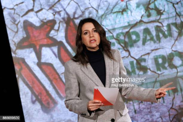 'Ciudadanos' cadidate for the upcoming Catalan regional election Ines Arrimadas speaks during the campaign opening meeting in Barcelona on December 4...
