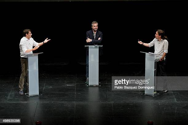 Ciudadanos leader Albert Rivera and Podemos leader Pablo Iglesias debate at Carlos III University of Madrid on November 27 2015 in Leganes Madrid...