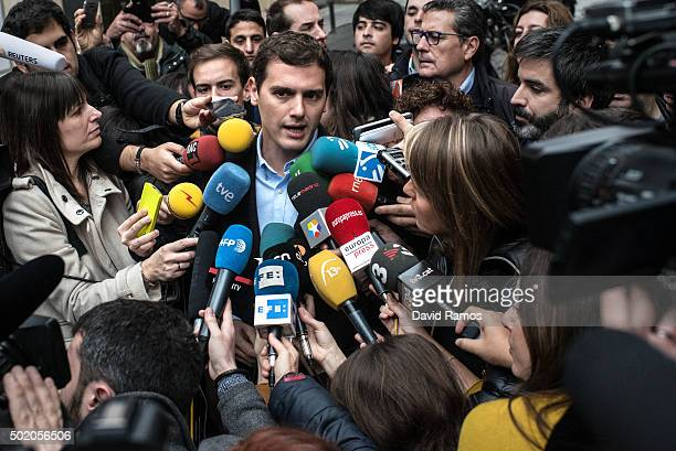 Ciudadanos leader Albert Rivera attends to journalists after casting his vote at a polling station on December 20 2015 in Barcelona Spaniards went to...