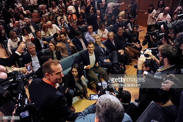 Ciudadanos leader Albert Rivera sits with Leader of Ciutadans in Catalonia Ines Arrimadas and Ciudadanos' coordinator of the Economic and Social...