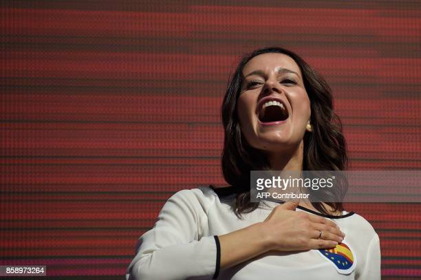 Ciudadanos political party representative Ines Arrimadas attends a demonstration called by 'Societat Civil Catalana' to support the unity of Spain on...