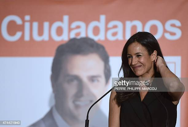 Ciudadanos political party's candidate for mayor of Madrid Begona Villacis smiles as she takes part in the party's closing campaign meeting in Madrid...