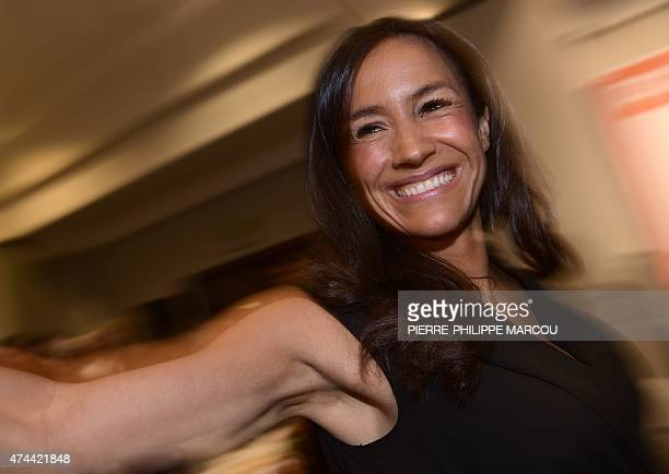 Ciudadanos political party's candidate for mayor of Madrid Begona Villacis smiles after attending a dinner and the party's closing campaign meeting...