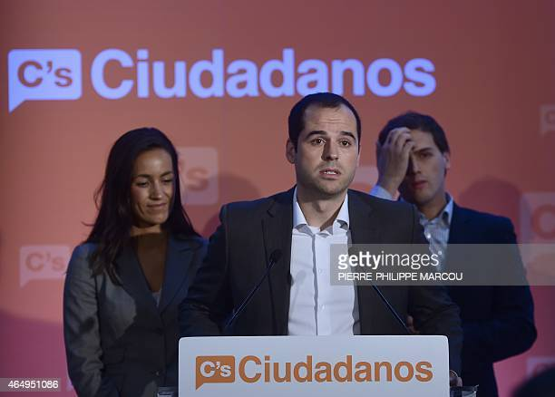 Ciudadanos political party's candidate for regional elections Ignacio Aguado speaks during a candidates presentation next to candidate for municipal...