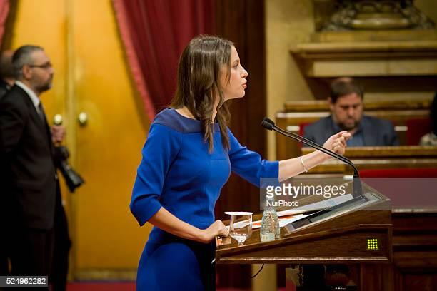 Ciudadanos's leader Ines Arrimadas addresses parliamentarians during the Investiture Debate in Barcelona on 10 November 2015 Catalonia's regional...
