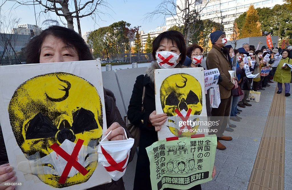 Civic group members hold placards to protest against a controversial new state secrets bill as they join a human chain surrounding the National Diet in Tokyo on December 4, 2013. The Japanese government is set to pass the controversial bill, which critics say is draconian and will impinge on press freedom and the public's right to know. AFP PHOTO / Yoshikazu TSUNO