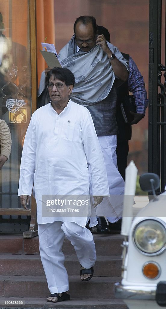 Civil Aviation Minister Ajit Singh and Food Processing Industries Minister KV Thomas after a Cabinet meeting at South Block on February 7, 2013 in New Delhi, India.