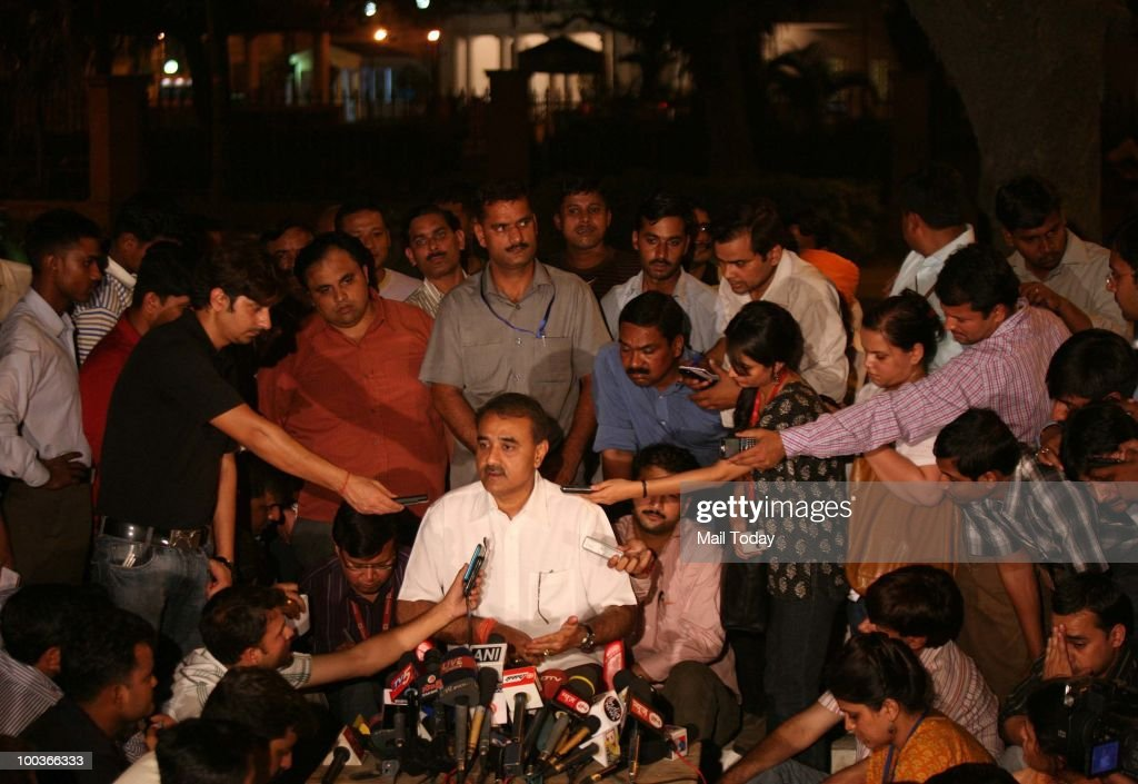 Civil Aviation Minister Praful Patel addresses the media after the Air India Express Crash in Mangalore outside the residence of the Indian Prime Minister in New Delhi on May 22, 2010.