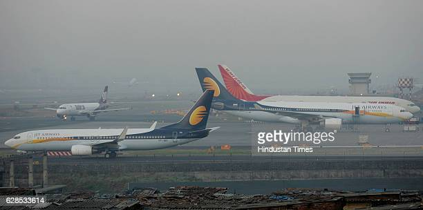 Civil Aviation Runway Aeroplane Jet Airways Winter Cold Wave Fog Early morning fog cause minor delays on Mumbai Airport