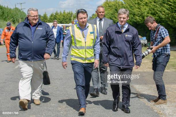 Civil Defence Minister Gerry Brownlee Selwyn Mayor Sam Broughton and New Zealand Prime Minister Bill English visit the Central Command Unit on...