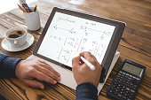 Civil Engineer or University Student Making Calculations Using Stylus Pen And Touch Pad in Office