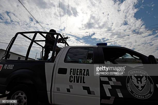 A Civil Forces police patrols in Tierra Blanca community Veracruz State Mexico on January 25 2016 The parents of five youngsters who were taken by...