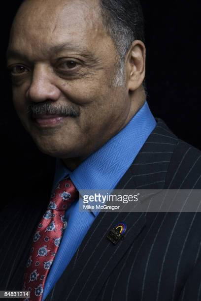 Civil rights activist an minister Jesse Jackson poses at a portrait session for Time Magazine in New York City