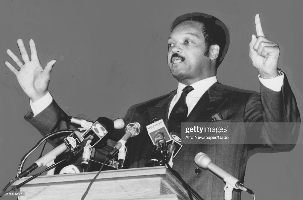 Civil rights activist Jesse Jackson Sr cries out and points while delivering a speech on television, 1960.