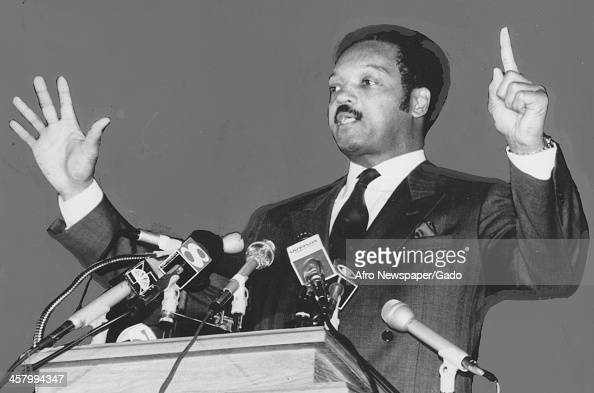 Civil rights activist Jesse Jackson Sr cries out and points while delivering a speech on television 1960