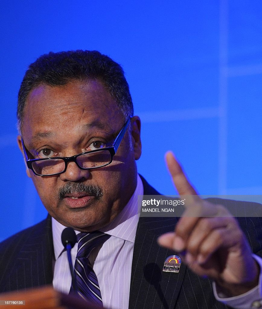 Civil rights activist Rev.Jesse Jackson speaks on December 6, 2012 during the opening plenary breakfast of the 36th Annual Legislative Conference of The National Black Caucus of State Legislators (NBCSL) at a hotel in Washington, DC. AFP PHOTO/Mandel NGAN