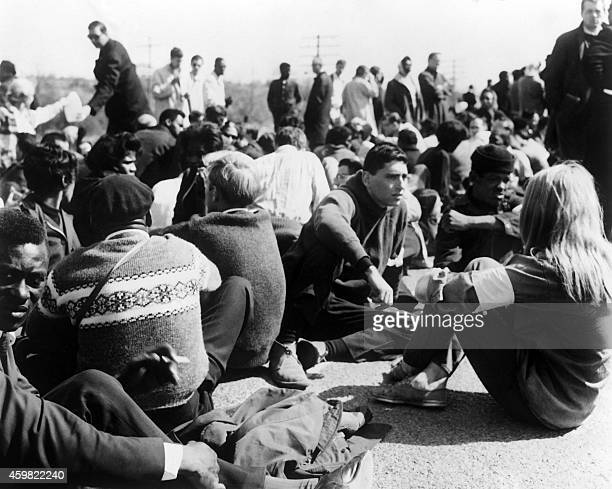 Civil rights demonstrators led by Dr Martin Luther King sit in during the third leg of the Selma to Montgomery marches on March 23 1965 in Alabama...