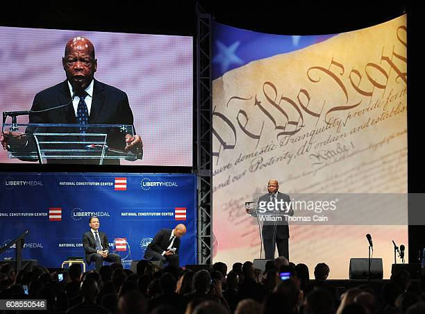 Civil Rights icon Rep John Lewis makes remarks after receiving the 2016 Liberty Medal at the National Constitution Center Monday September 19 2016 in...