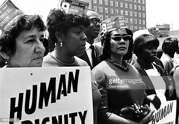 Civil rights leader Coretta Scott King marches with thousands during a Hospital Workers Strike in Charleston South Carolina 1969