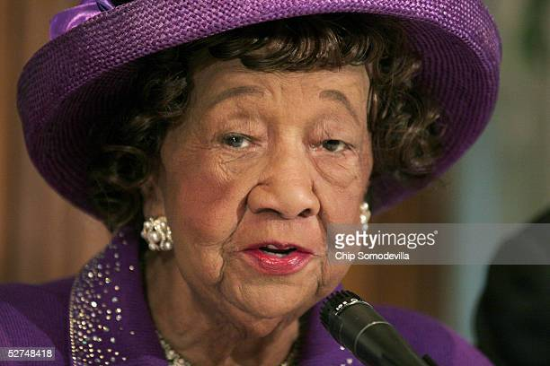 Civil Rights leader Dr Dorothy Height attends a news conference to discuss the 10th anniversary of the Million Man March May 2 2005 at the National...