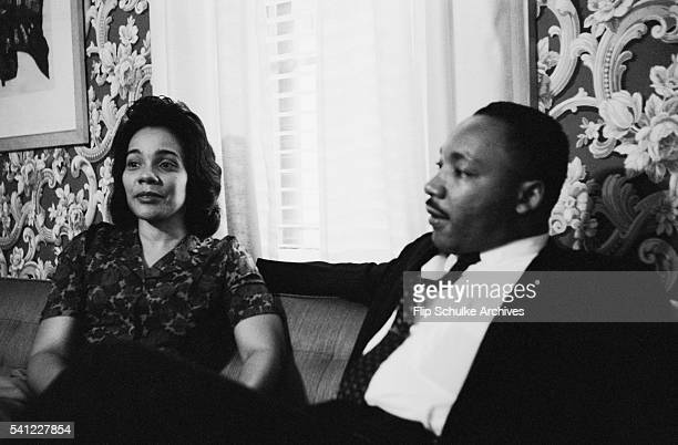 Civil rights leader Martin Luther King Jr and his wife Coretta at their home