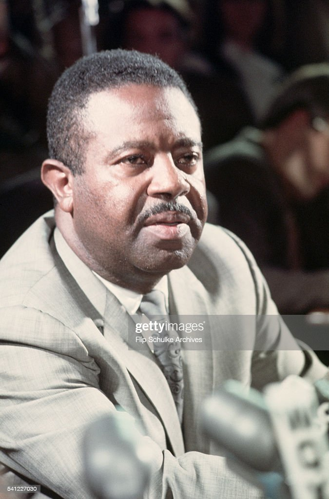 Civil rights leader Ralph Abernathy speaks at a press conference during the week of Martin Luther King Jr.'s funeral in Atlanta.