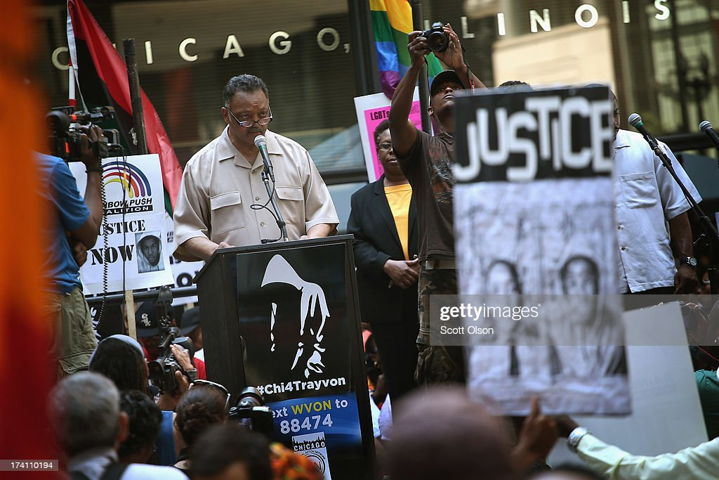 Civil rights leader Rev. Jesse Jackson speaks to protestors during a 'Justice For Trayvon' rally July 20, 2013 in Chicago, Illinois. The rally was one of a scheduled 100 to be held in cities across the country today to protest a Florida jury's decision last week to find neighborhood watch volunteer George Zimmerman not guilty of murder in the February 2012 shooting death of seventeen-year-old Trayvon Martin.
