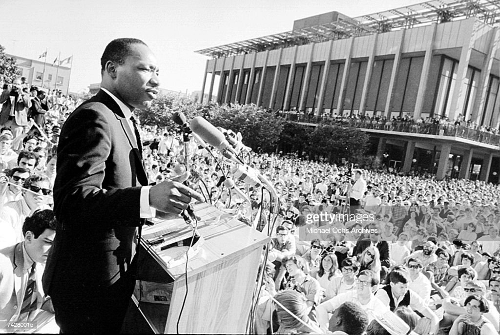 Civil rights leader Reverend Martin Luther King Jr delivers a speech to a crowd on October 16 1965 in New York City New York