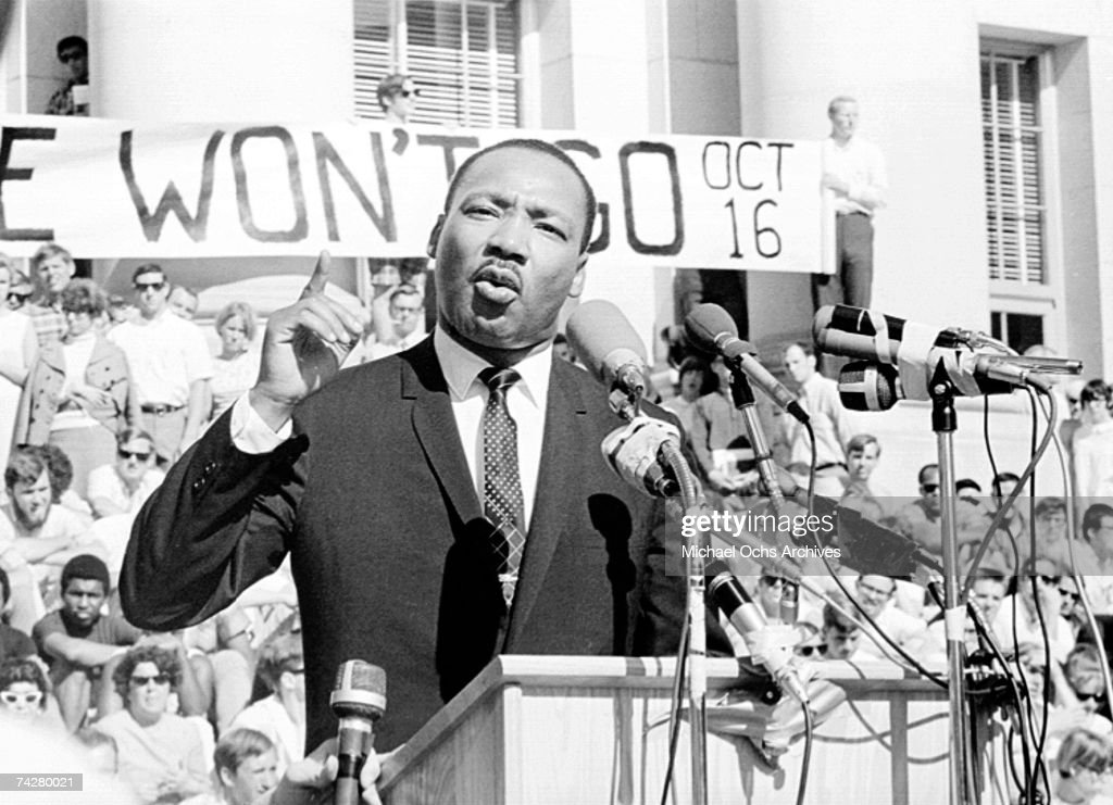 Civil rights leader Reverend Martin Luther King, Jr. delivers a speech to a crowd on October 16, 1965 in New York City, New York.