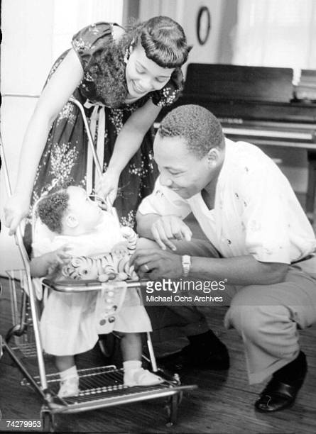 Civil rights leader Reverend Martin Luther King Jr relaxes at home with his family in May 1956 in Montgomery Alabama