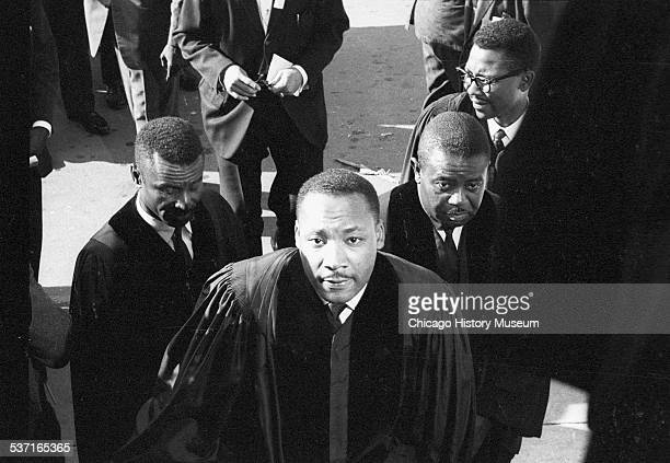 Civil Rights leaders Fred Shuttlesworth Martin Luther King Jr and Ralph Abernathy attend a funeral for victims of the 16th Street Church bombing in...