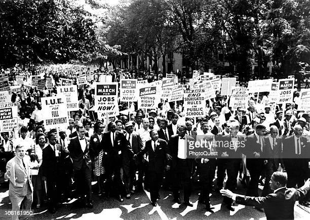 Civil Rights leaders holds hands as they march along the National Mall during the March on Washington for Jobs and Freedom Washington DC August 28...