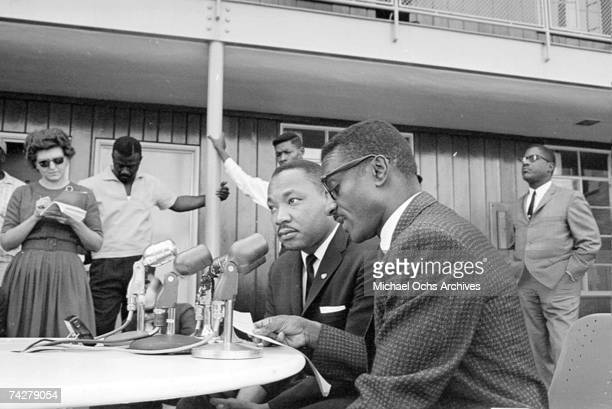 Civil rights leaders Martin Luther King Jr and Fred Shuttleworth hold a press conference on October 22 1963 in Birmingham Alabama