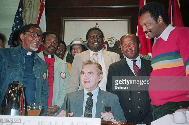 Civil Rights leaders meet with Al Governor George C Wallace in his office in Selma Alabama on the 20th anniversary march from Selma to Montgomery...
