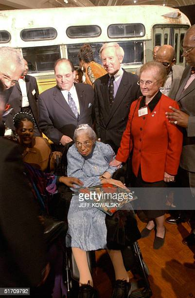 S civil rights legend Rosa Parks attends the commemoration of the 46th anniversary of her arrest aboard a Montgomery Alabama bus in 1955 at the Henry...