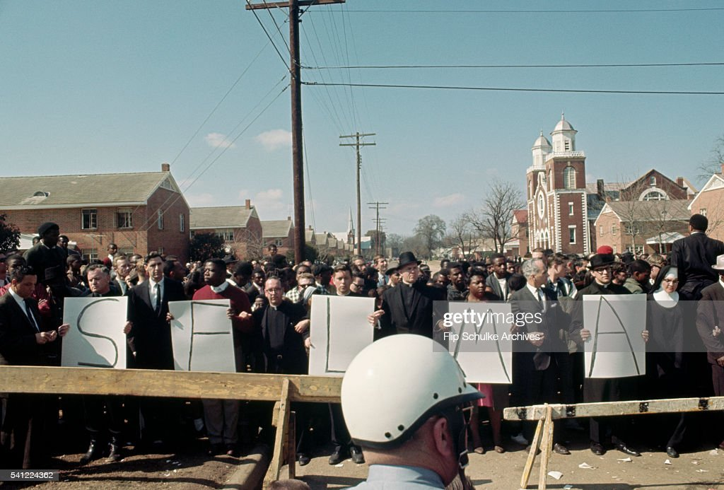 Civil rights marchers gather near Browns Chapel to start a march to Montgomery.