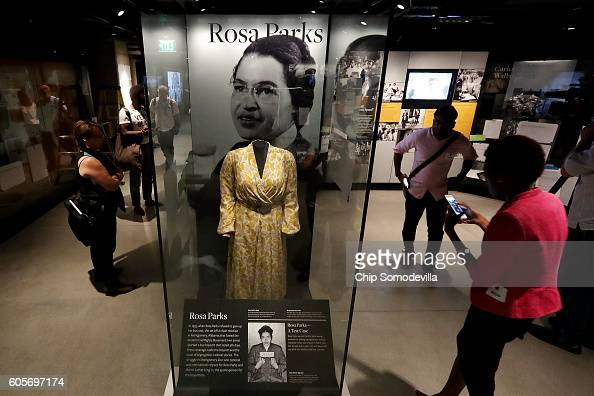 Civil Rights pioneer Rosa Parks' dress is on display in the concourse galleries at the Smithsonian's National Museum of African American History and...