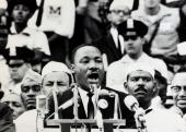 28th August 1963 Black American Civil Rights leader the Rev Martin Luther King delivers his famous 'I Have A Dream' speech at the Lincoln Memorial in...