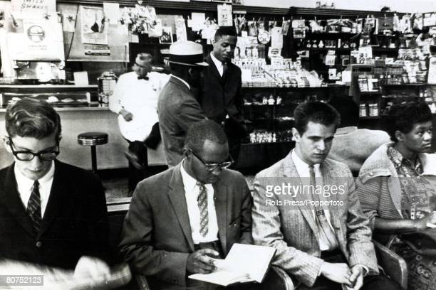 28th May 1961 Montgomery Alabama Some of the 9 'Freedom Riders' who successfully integrated the Trailways bus station sit in the 'white only' section...