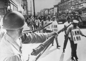 30th March 1968 Memphis Tennessee Guardsmen with fixed bayonets in Beale Street Memphis as black marchers stage a protest march
