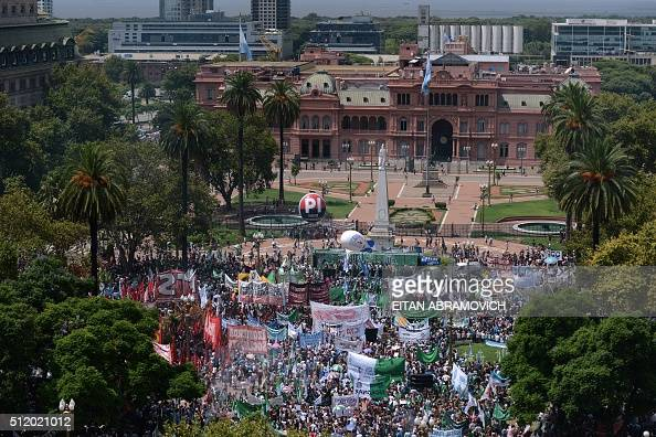 Civil servants demonstrate against the government of Argentinian President Mauricio Macri in front of the Casa Rosada presidential palace in downtown...