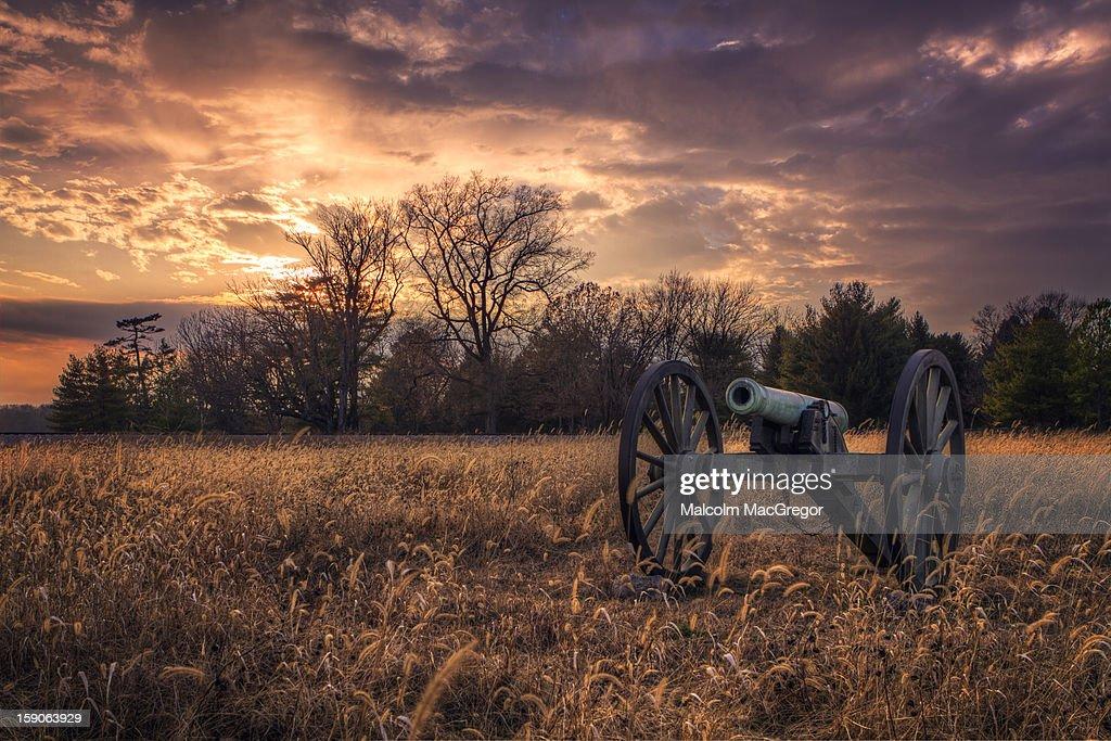 Civil War Cannon at Sunset
