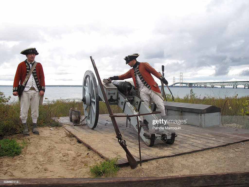 Civil War cannon firing re enactment at Colonial Michilimackinac an 18th century fort and fur trading village Mackinaw City Michigan Mackinac State...