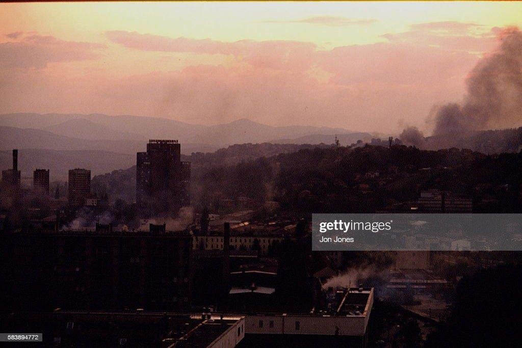 Civil war continuing in Bosnia Sarajevo burning after shelling