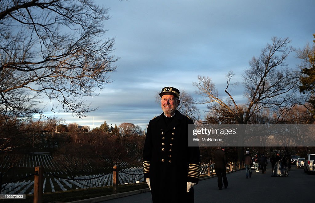 Civil War enthusiast Sam Caldwell attends a funeral service at Arlington National Cemetery for two unknown sailors who were killed in 1862 when the Civil War era USS Monitor sank off the coast of North Carolina March 8, 2013 in Arlington, Virgiina. The sailors' remains, recovered when a portion of the ship was raised eleven years ago, were buried with full military honors.