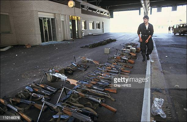 Civil war in Yugoslavia on July 02 1991 Slovene troops in Hrustica with arms left by federal troops