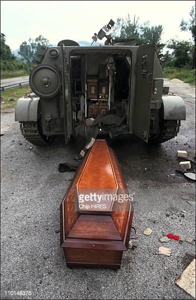 Civil war in Yugoslavia on July 02 1991 Yugoslav army tanks destroyed
