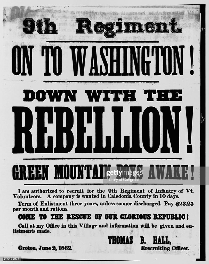 Civil War Poster Seeking Vermont 9th Infantry Recruits